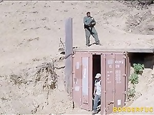 Tight teen deepthroats and fucked by border patrol agent