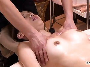 Asian bitch sucking on a hairy japanese cock