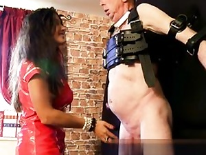 Hot stunner in her crimson leather sundress well-prepped to abuse his hard lollipop
