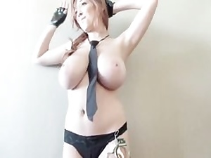 Crazy stunner dresses as a police officer finger-banging her cock-squeezing wet vagina