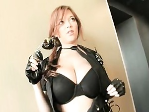 Wild doll dressed in leather outfit acting like a real superslut on camera
