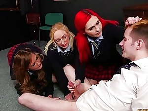 Gang of school students gets naughty in a sexy four-way