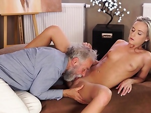 OLD4K. Dreams come true when adorable damsel takes elderly spear