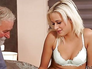 DADDY4K. Platinum-blonde Ria Sun gets smashed by old masculine on her