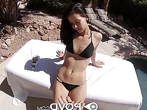 POVD Girl gets torn up and slurps cum outside by pool