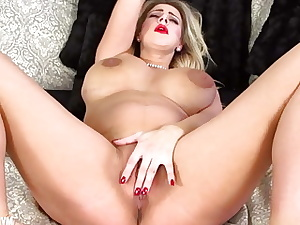 pregnant touching and toying fat beaver and jugs