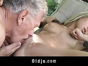 Young tasteless pretty good seduces and fucks grandpa